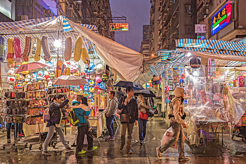 Rainy Night at Tung Choi Street, Kowloon, Hong Kong