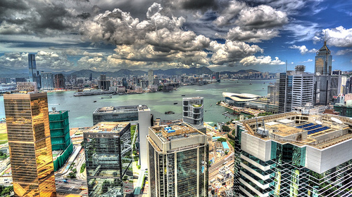 Victoria Harbour and Kowloon from Wan Chai on Hong Kong Island