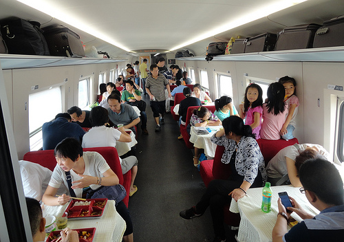 Photo of a Dining Car aboard a G Train in China