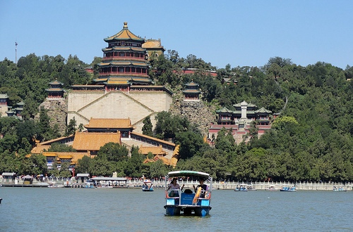 Tower of Buddhist Incense at Summer Palace from Kunming Lake, Beijing