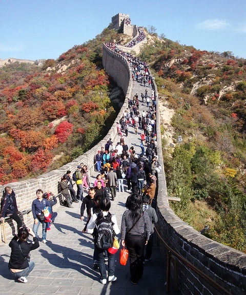 A Crowded Section of Badaling Great Wall in China