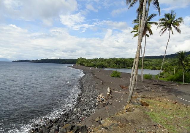 Danau Tolire Kecil. A Lake and a Black Beach on the North-west Coast of Pulau Ternate, The Moluccas (Maluku)