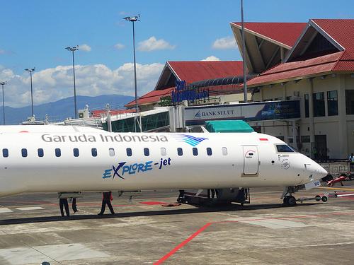 A Canadair Regional Jet Garuda Airlines at Manado Airport, Sulawesi