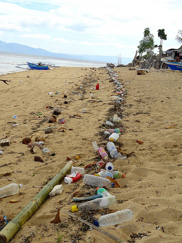 Plastic and Garbage on the beach of Pantai Pangalisang in Pulau Bunaken, North Sulawesi,