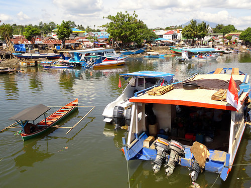 Public Boat to Pulau Bunaken leaves from the canal on the North side of Manado Port, Sulawesi