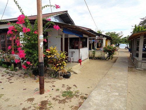 A quiet street in the Main Village near Pangalisang, Pulau Bunaken, Sulawesi