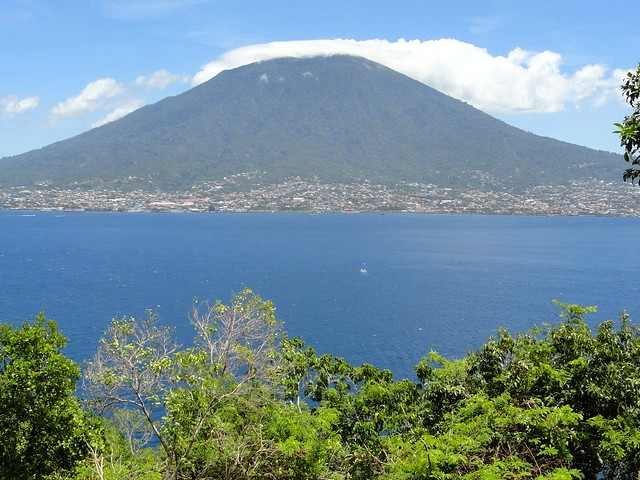 Pulau Ternate and Gamalama Volcano from the Road between Maftutu and Rum in Pulau Tidore, The Moluccas (Maluku)