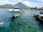 View of Pulau Tidore from Pulau Maitara, in the Maluku Archipelago in Indonesia