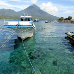 View of Pulau Tidore from Pulau Maitara, in the Maluku Archipelago in Indonesia