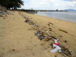 Garbage on Bunaken's beach in Indonesia