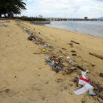Garbage on Bunaken's beach in Indonesia