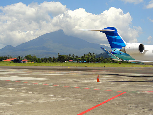 Manado Airport and Gunung Klabat Volcano, North Sulawesi, Indonesia