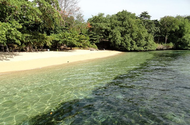 The best section of Pantai Pangalisang Beach in front MC Cottage & Dive, Pulau Bunaken, North Sulawesi, Indonesia