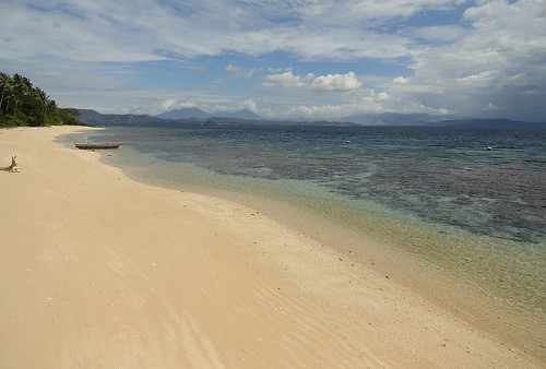 The White Beach of Coral Eye in Pulau Bangka, North Sulawesi, Indonesia