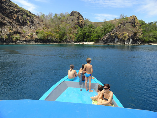 Travelling by Boat to Remote Beaches, North Sulawesi, Indonesia