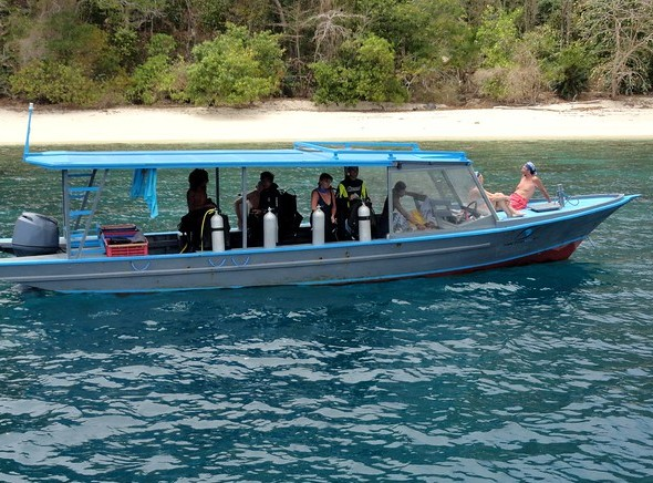 Coral Eye Dive Boat at a Remote Bay in the far North-eastern Peninsula of Sulawesi, Indonesia
