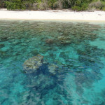 One of the White, Deserted and Unnamed Beaches along the North-eastern Peninsula of Sulawesi in Indonesia