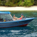 One of the Diving Boats of Coral Eye Resort of Pulau Bangka near Sulawesi in Indonesia
