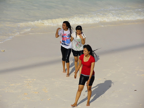 Indonesian Girls on the beach of Pantai Bira, South Sulawesi, Indonesia