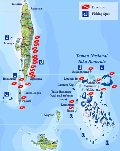 Diving Sites on the East Coast of Pulau Selayar & Taka Bonerate National Park, South Sulawesi, Indonesia