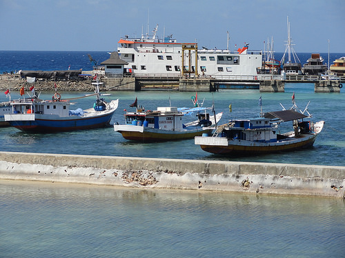 Bira Harbour, the Ferry ready to leave to Selayar Island, South Sulawesi, Indonesia