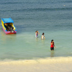 Photo of Indonesian Girls on the Beach of Pantai Bira in South Sulawesi