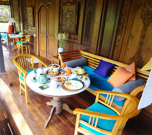 Morning breakfast on your private verandah, Jatayu Room, Alam Jiwa, Ubud, Bali, Indonesia
