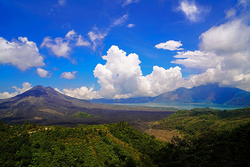 Lake Batur and Mount Batur from Kintamani in Bali, Indonesia