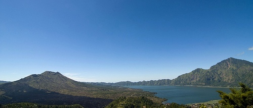 Gunung Batur Volcano (on the left) and Gunung Abang (on the right) with Danau Batur (in the middle), Bali, Indonesia