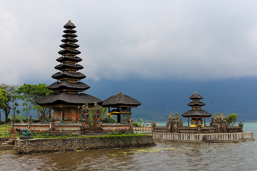 A beautiful Hindu Temple located at Lake Bratan, Bedugul, Bali, Indonesia