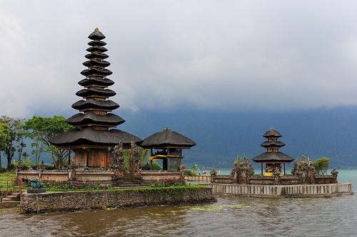 A beautiful Hindu Temple located at Lake Bratan, Bedugul, Bali, Indonesia