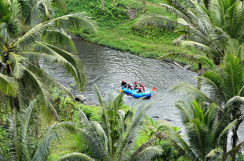 Rafting on Ayung River, seen from Sayan Terrace, Ubud, Bali, Indonesia