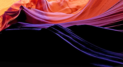 Colours in Upper Antelope Canyon, near Page, Arizona
