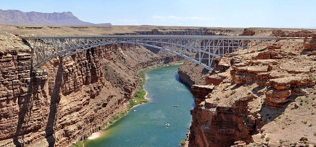 Boats under Navajo Bridge in Marble Canyon, Grand Canyon NP, Arizona