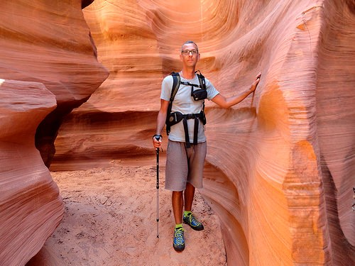 The Author of the Blog into Waterholes Canyon, near Page in Arizona