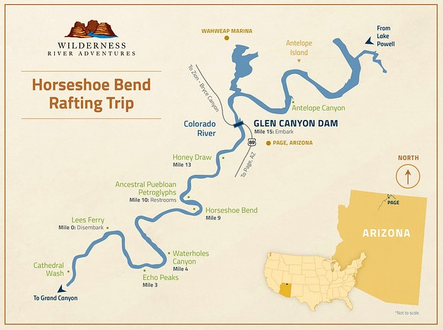 Page Horseshoe Bend Rafting Trip Map