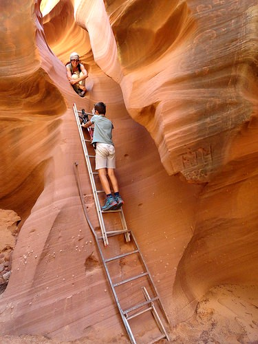 The Dryfall and the Ladder into the Slot of Waterholes Canyon, near Page in Arizona