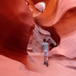 Walking alone into Lower Antelope Canyon near Page in Arizona