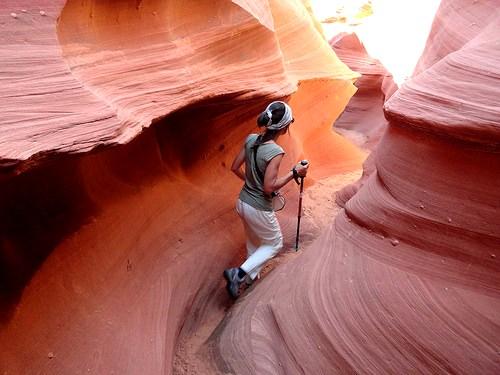 Walking the Slot of Waterholes Canyon, near Page in Arizona