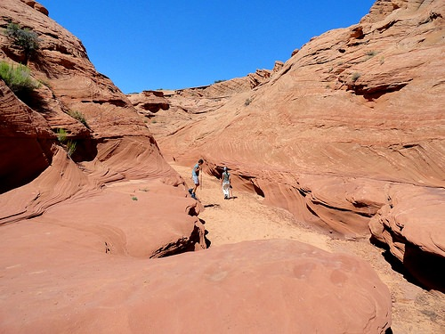 Waterholes Canyon, walking in the wash before entering the slot, near Page in Arizona