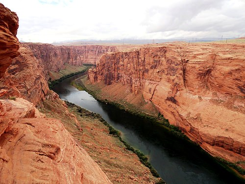 Colorado River from Dam Overlook in Glen Canyon National Recreation Area near Page in Arizona