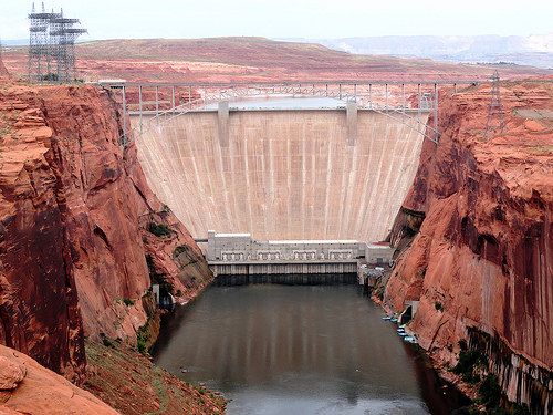 Glen Canyon Dam from Dam Overlook in Page in Arizona