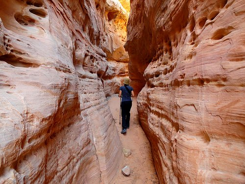 Inside the Slot Canyon on the White Domes Trail in Valley of Fire SP in Nevada
