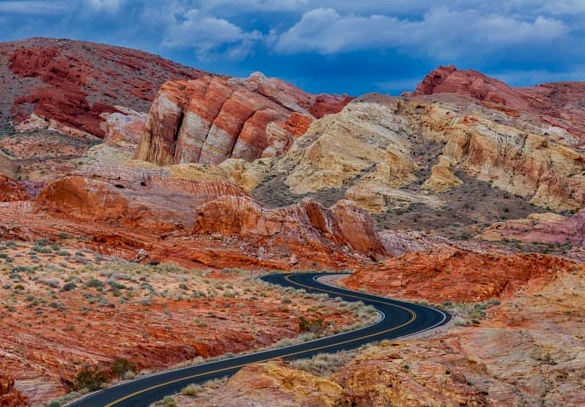 Scenic Road to White Domes Valley in Fire State Park in Nevada
