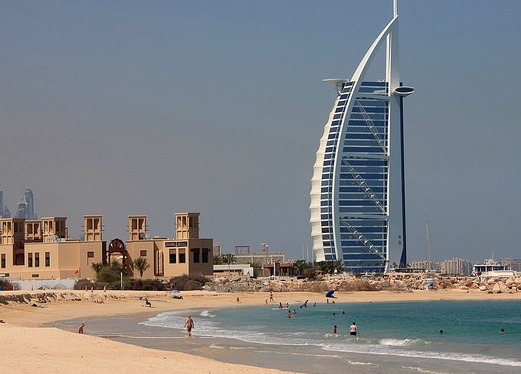 Burj Al Arab from Umm Suqeim Beach, Jumeirah Beach, Dubai, United Arab Emirates