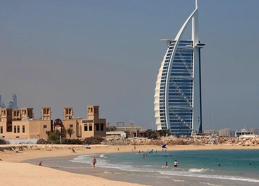 Burj Al Arab from Umm Suqeim Beach, Jumeirah Beach, Dubai, United Arab Emirates