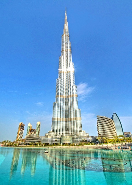 Burj Khalifa and Khalifa Lake in Downtown Dubai, Dubai, United Arab Emirates
