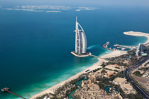 Burj Al Arab (centre), Madinat Jumeirah (bottom) and Jumeirah Beach Hotel (right), Jumeirah Beach, Dubai, United Arab Emirates
