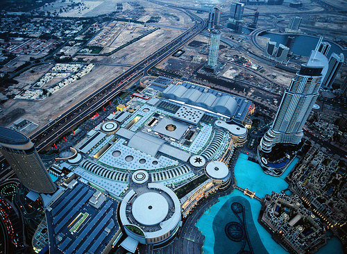 Dubai Mall and Khalifa Lake from Burj Khalifa, Downtown Dubai, United Arab Emirates