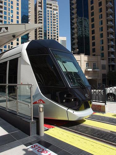 Dubai Tram in Dubai Marina, Dubai, United Arab Emirates